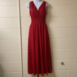 Plunging Neck Line Red Maxi Dress Waist Defined